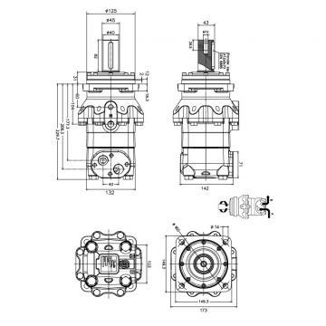 """Flowfit Hydraulique Moteur 316,5 Cc / Rev 1 """" Parallèle à Clé Arbre"""