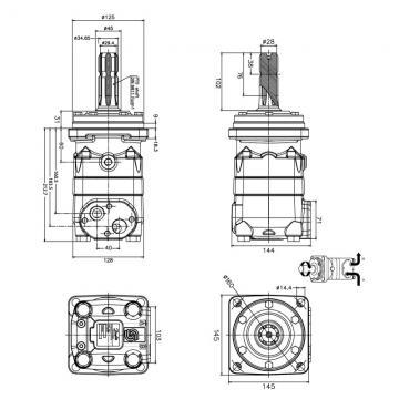 """Hydraulique Moteur 315,1 Cc / Rev, 4-hole 32mm Parallèle à Clé Arbre, 1/2 """""""