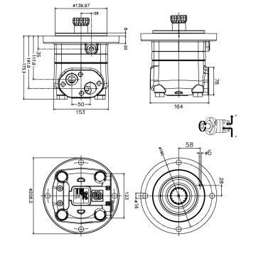 Hydraulique Moteur 315,7 Cc / Rev 32mm Parallèle à Clé Arbre,4 Trou SAE ' '